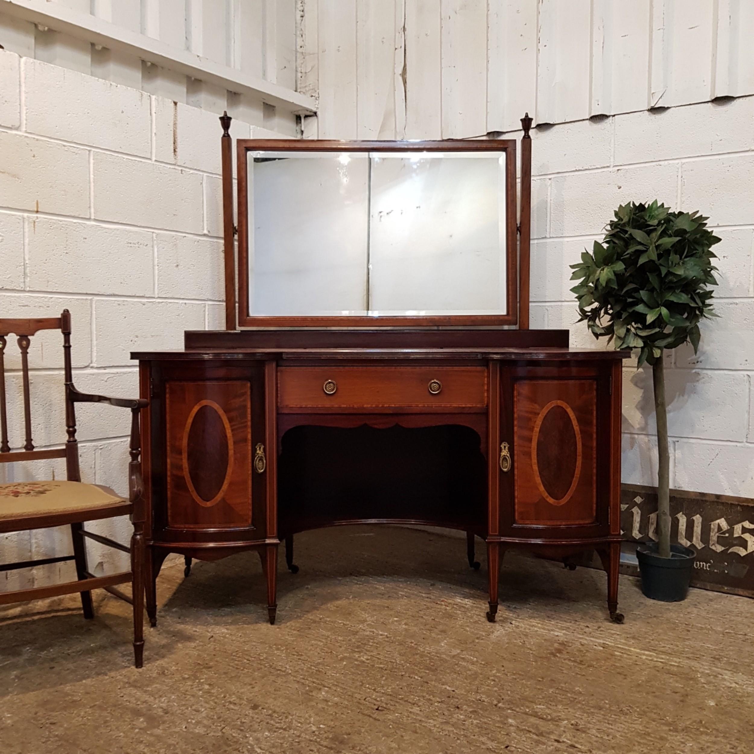 antique edwardian sheraton mahogany dressing table c1900