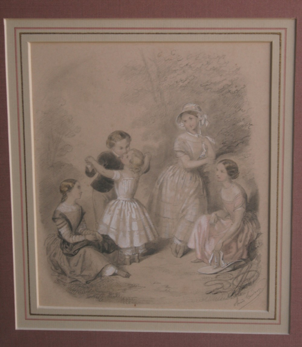 anais toudouze french 182299 drawing 'a kissing game'