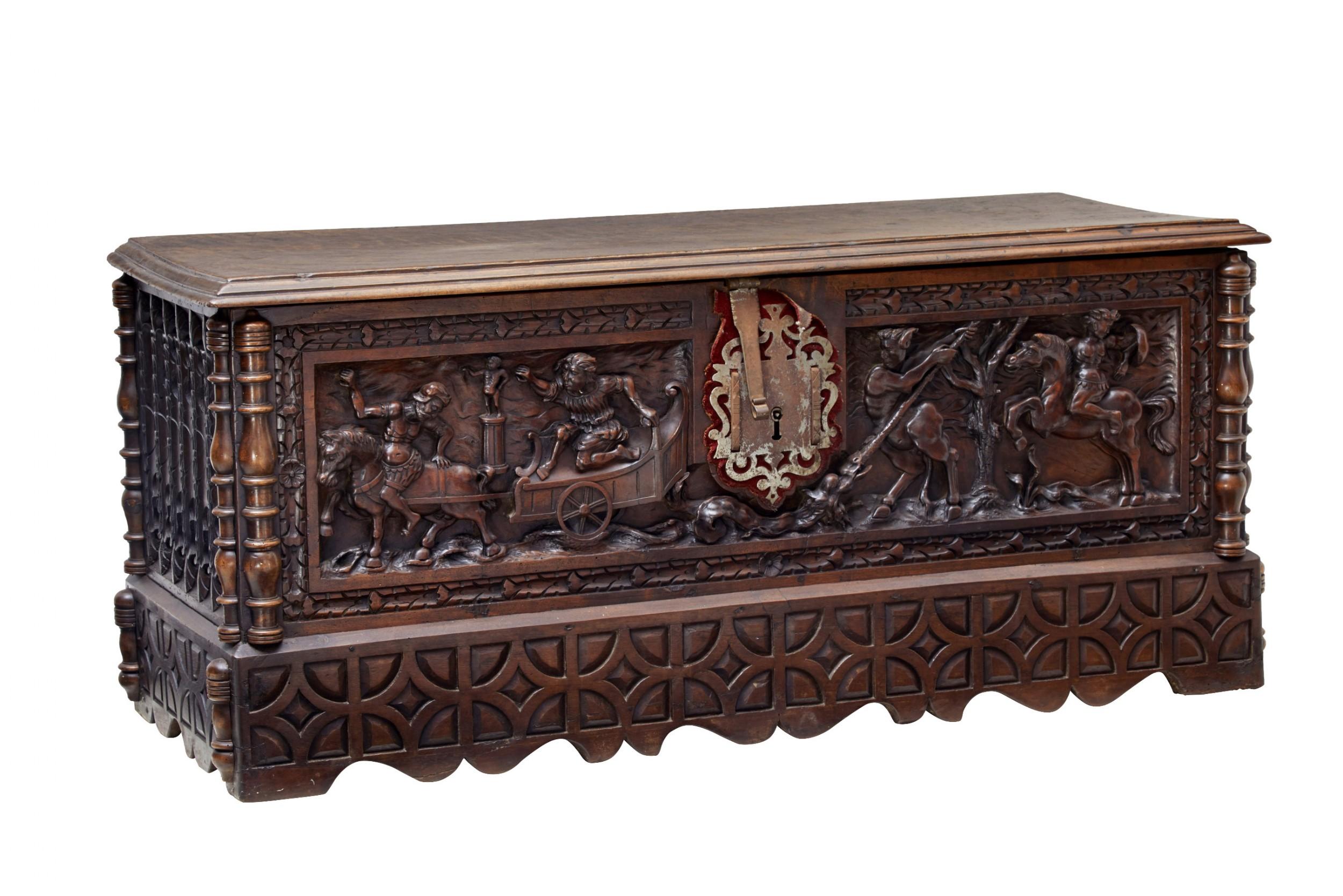 mid 18th century italian carved walnut cassone