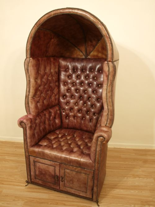 A Good Leather 19th Century Hooded Porters Chair