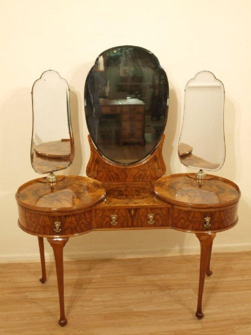 A Stunning Art Deco Period Burr Walnut Ladies Dressing Table