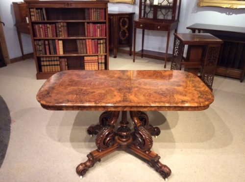 a stunning quality burr walnut victorian period librarycentre table