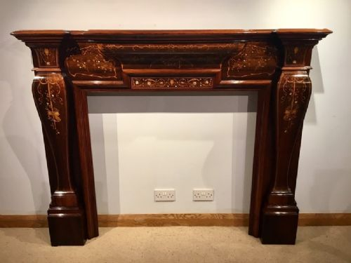 a wonderful exhibition quality rosewood marquetry inlaid victorian period fire surround