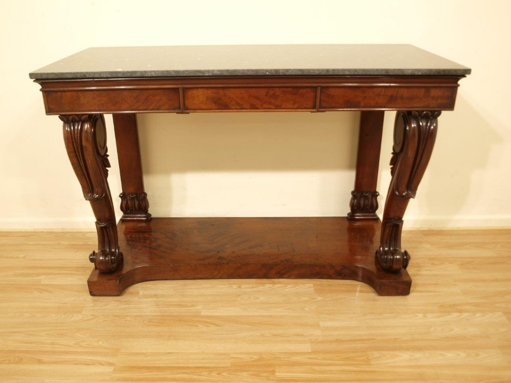 Merveilleux A Beautiful Mahogany William Iv Period Marble Top Console Table