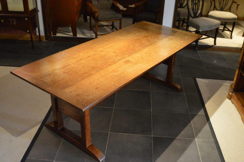 A Rare Oak Arts Crafts Period Dining Table By Arthur Simpson Of Kendal