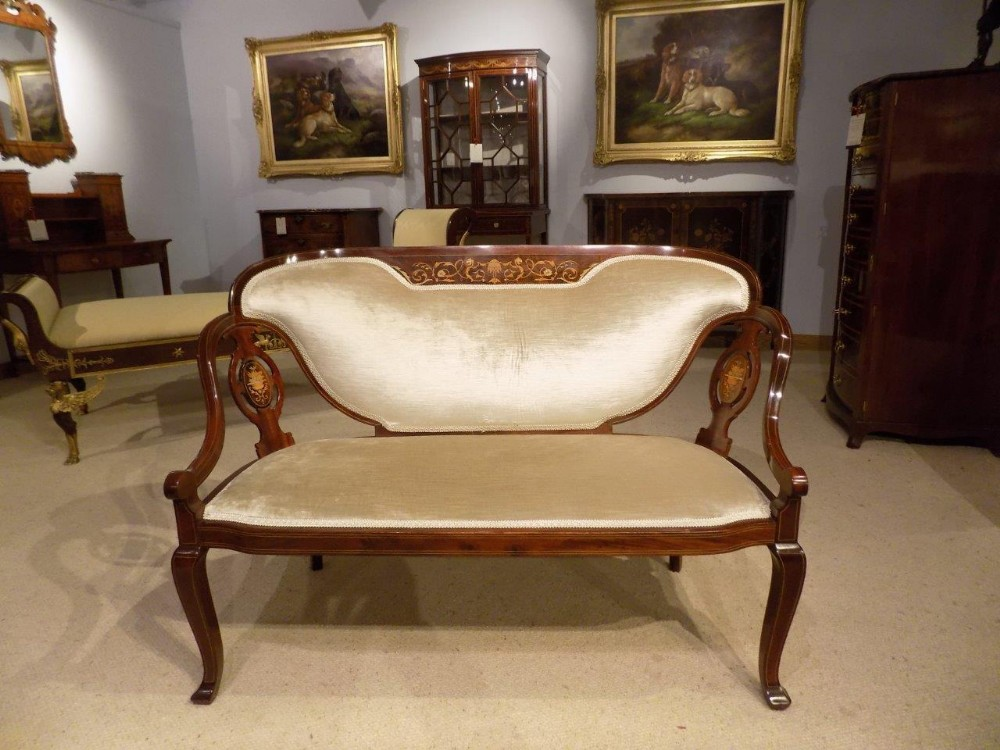 a fine quality mahogany rosewood marquetry inlaid edwardian period sofa