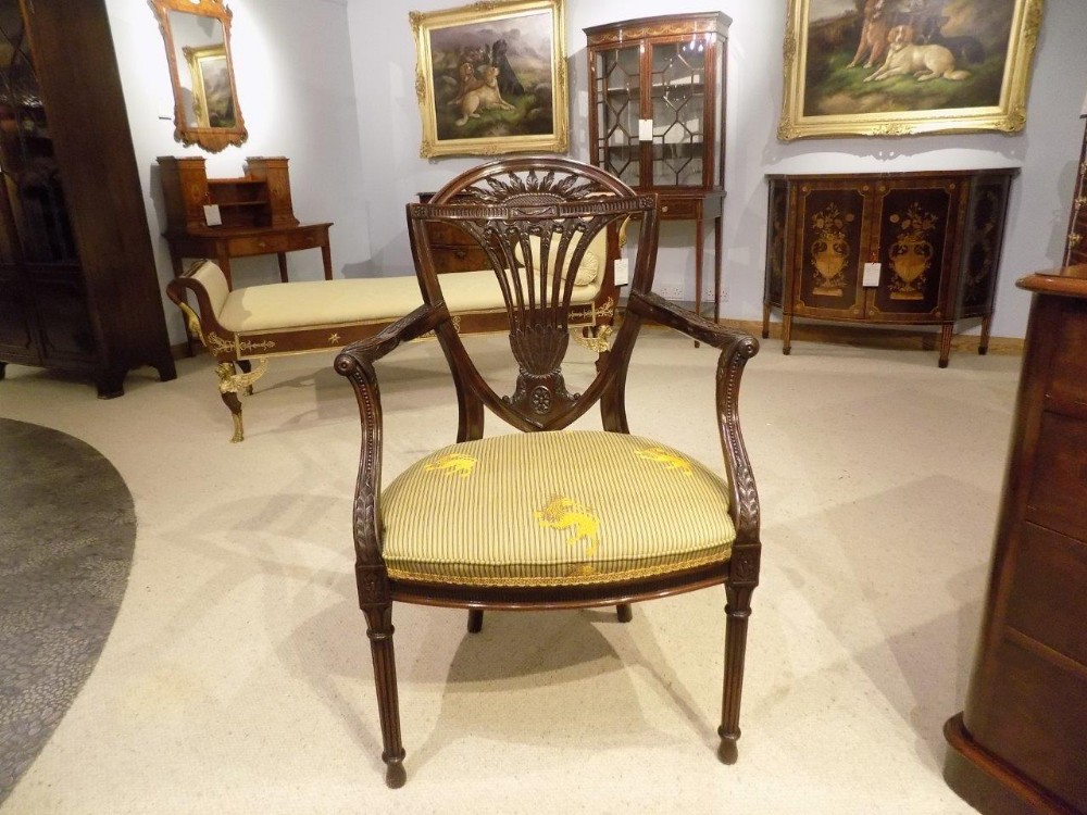 a fine quality mahogany hepplewhite style carved antique armchair