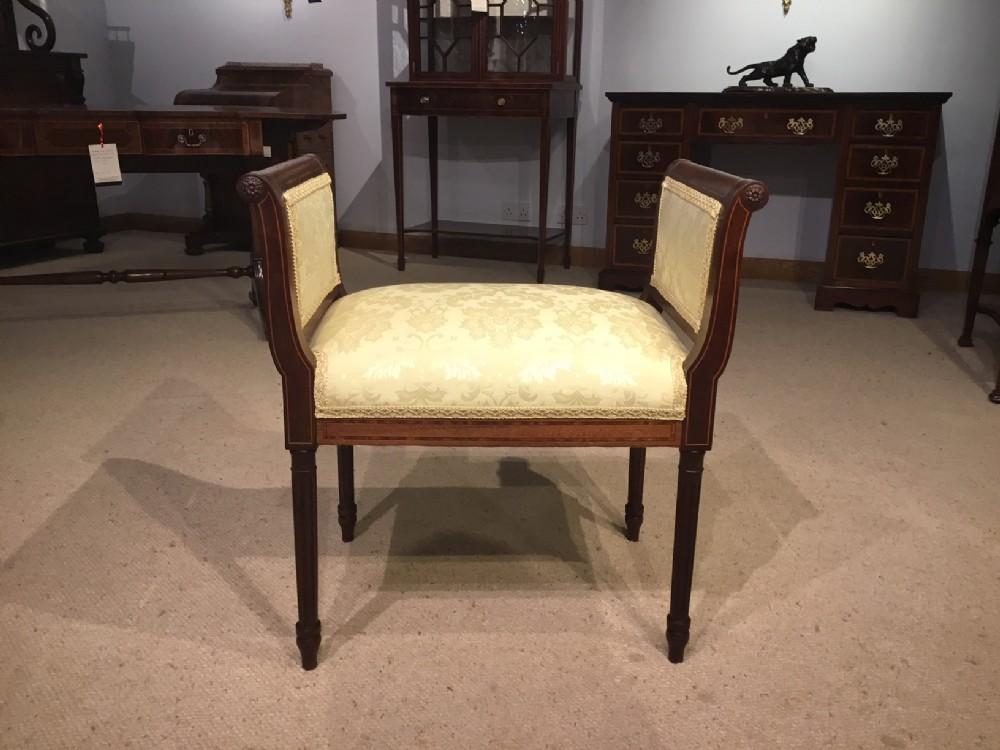 an edwardian period mahogany inlaid stool