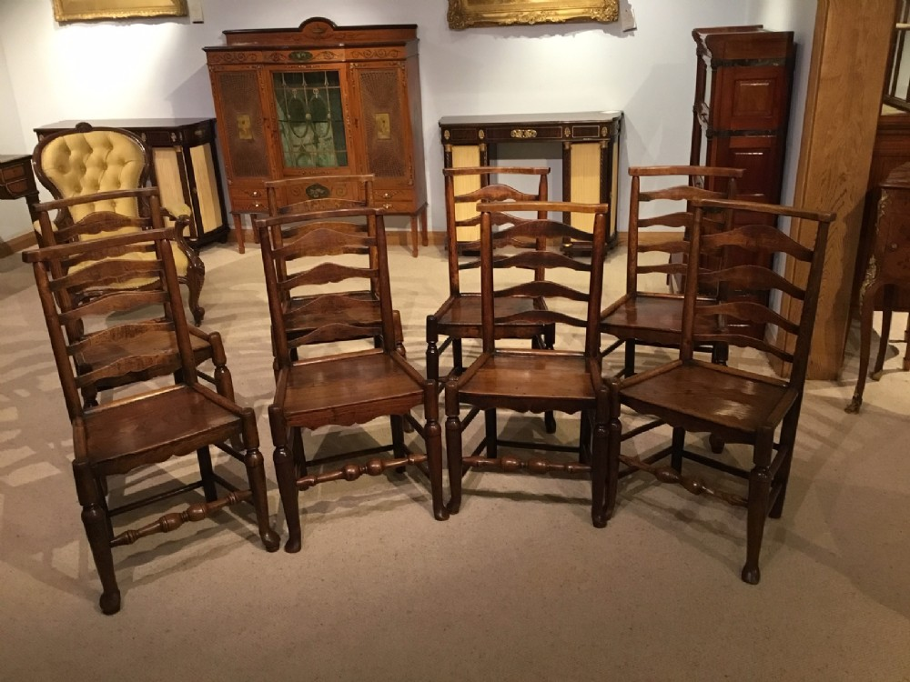 a good harlequin set of 8 ash and elm dales country dining chairs