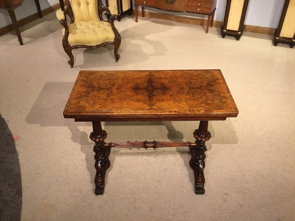 a burr walnut victorian period fold over card table
