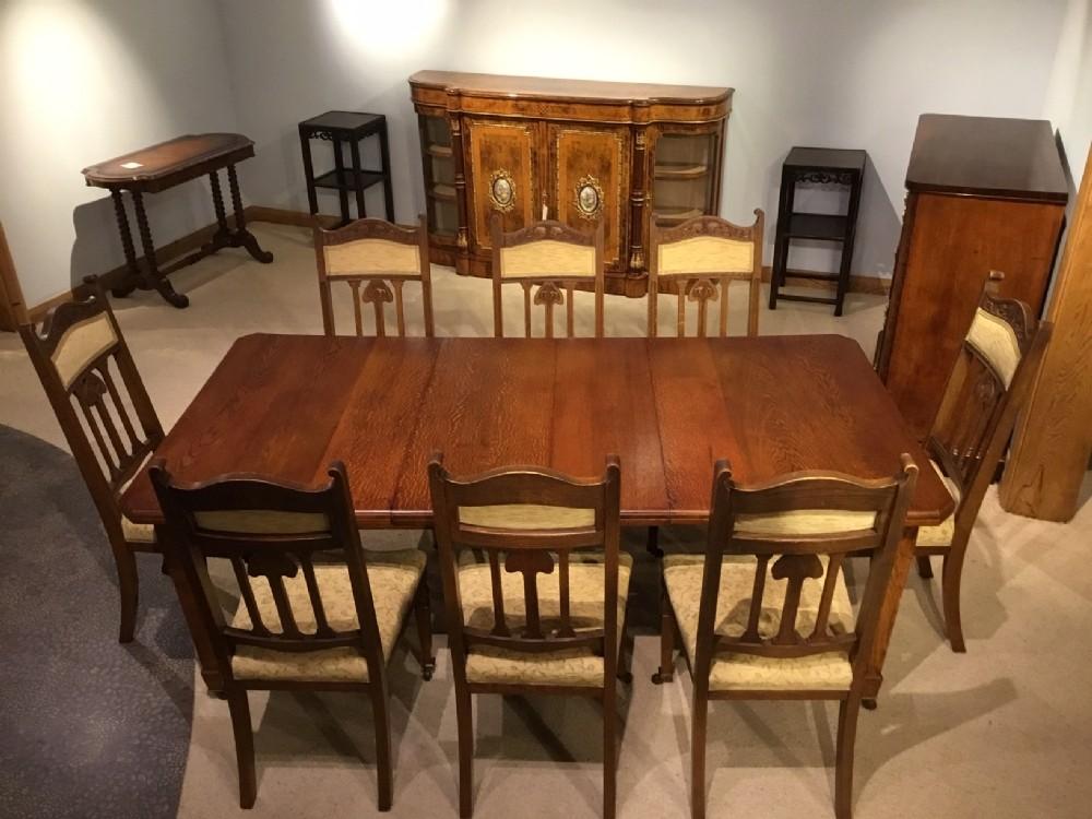 Surprising An Oak Arts Crafts Period Extending Dining Table And 8 Inzonedesignstudio Interior Chair Design Inzonedesignstudiocom