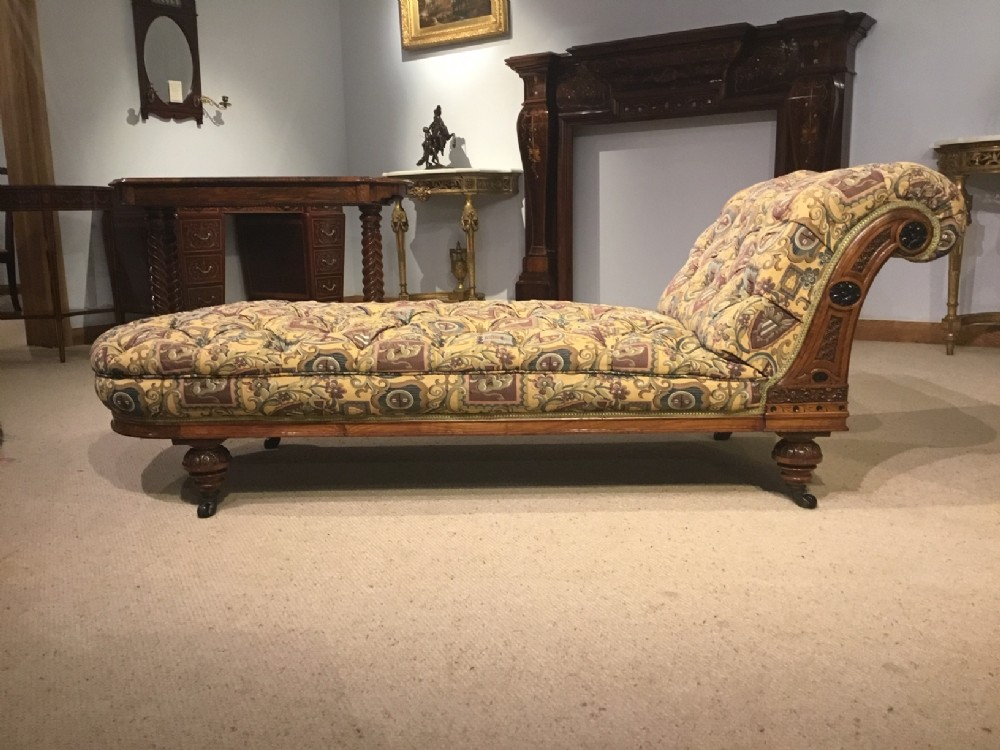 an exhibition quality victorian aesthetic period walnut ebony day bed
