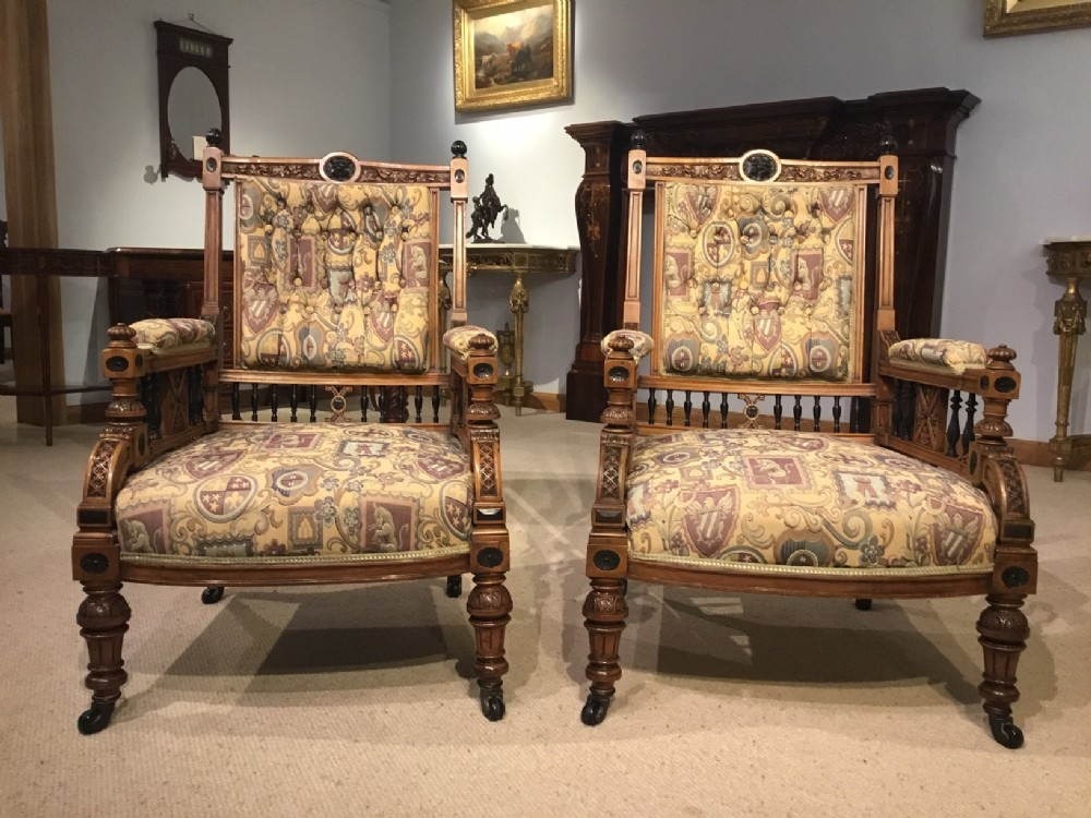 a pair of victorian aesthetic period gents ladies walnut ebony armchairs
