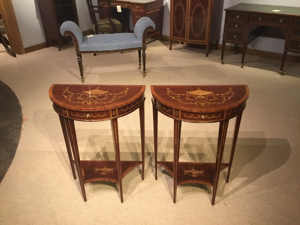 a good pair of sheraton designed demi lune pier tables by edwards roberts of london