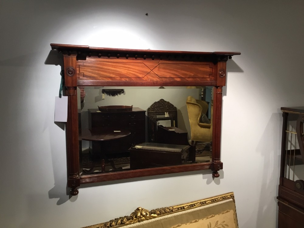 a regency period mahogany overmantle mirror