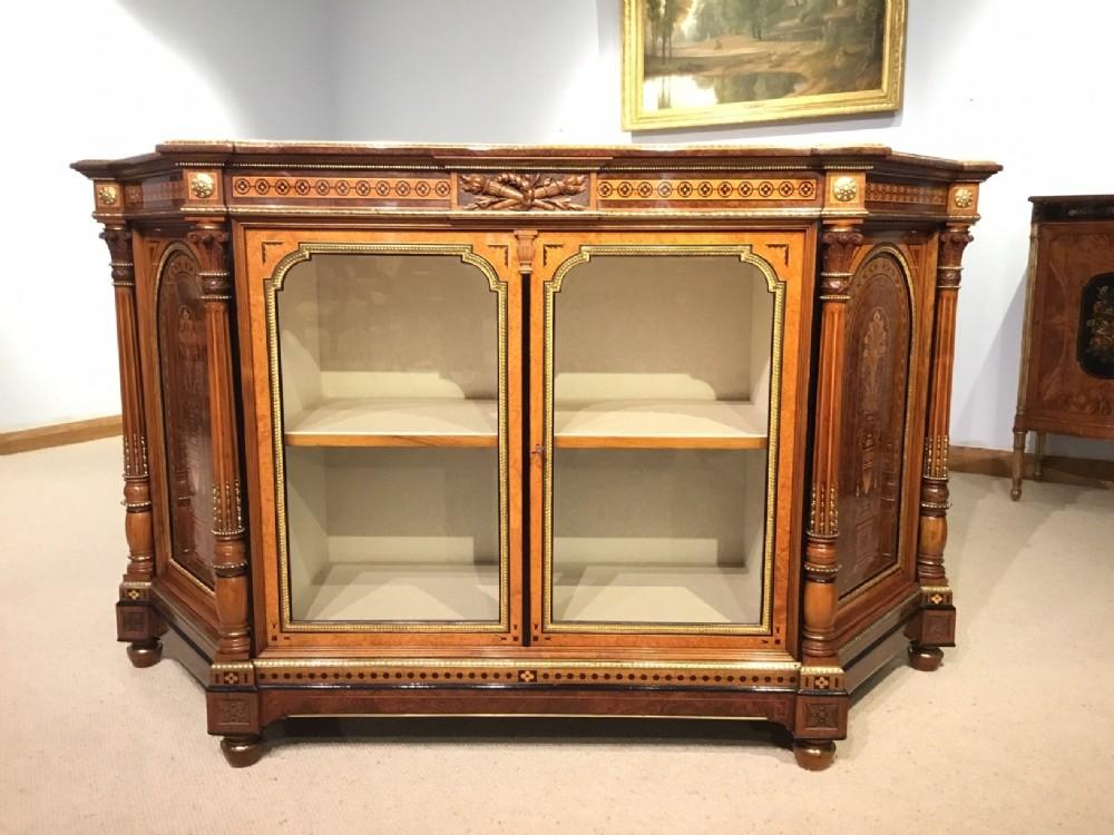 an exhibition quality victorian period burr walnut amboyna and ormolu side cabinet