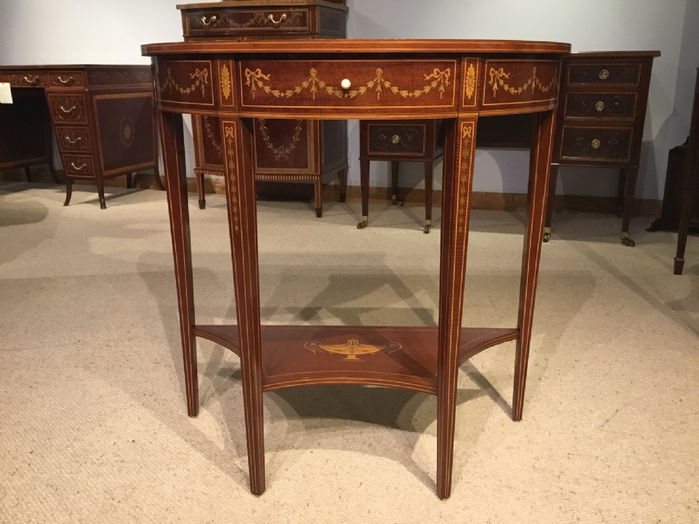 an edwardian period demi lune side table by edwards and roberts of london