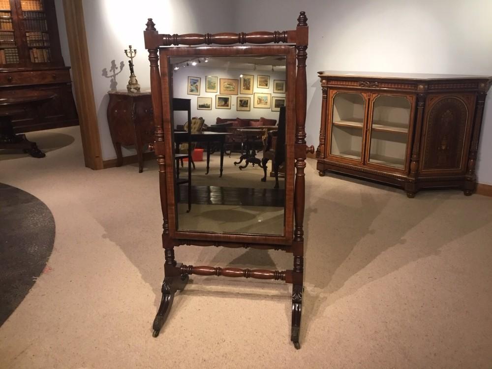 a good mahogany regency period cheval dressing mirror