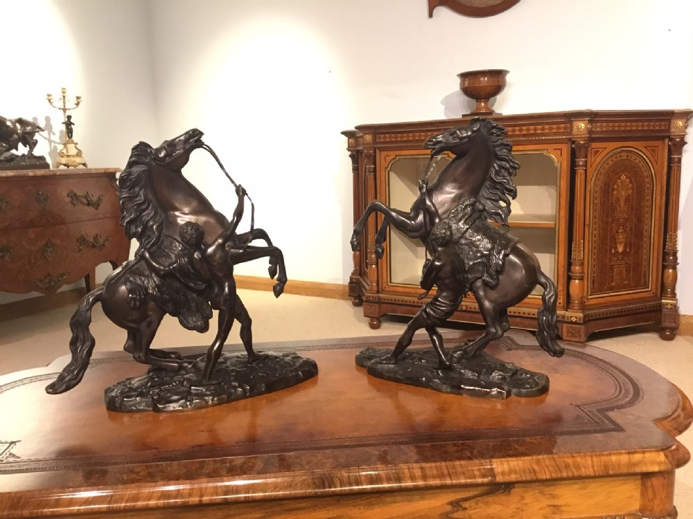 a pair of french classical 19th century bronze marley horses