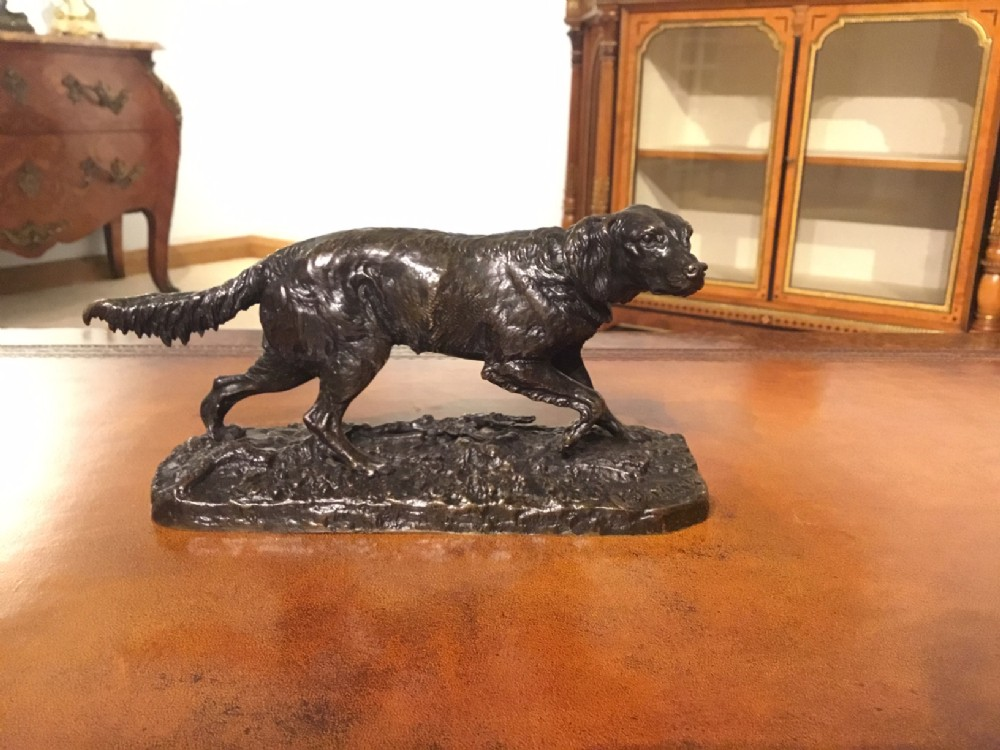 a lovely 19th century french bronze sculpture of a setter by pierre jules mene