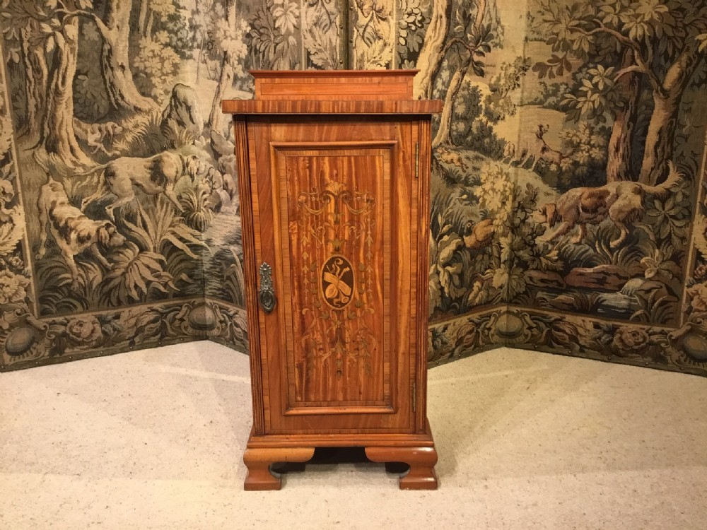 a satinwood marquetry inlaid edwardian period antique bedside cabinet