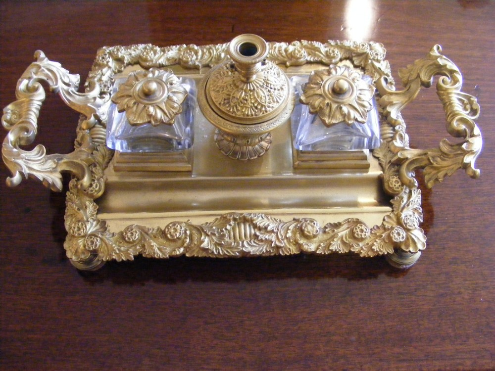 a french cast bronze encrier or ink stand in the rococo manner