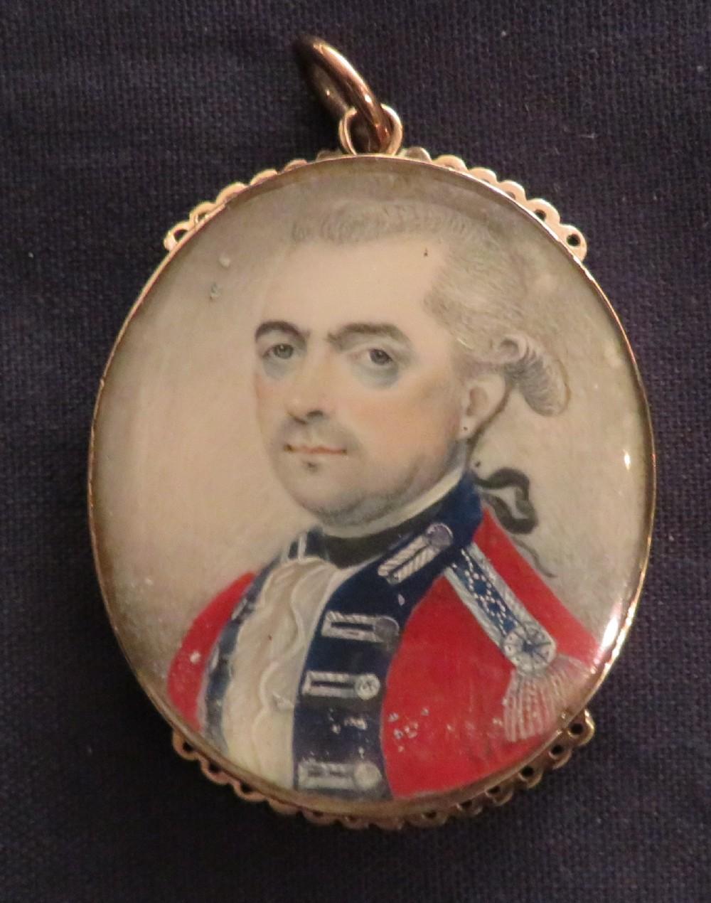 miniature portrait british officer 1760 gold frame