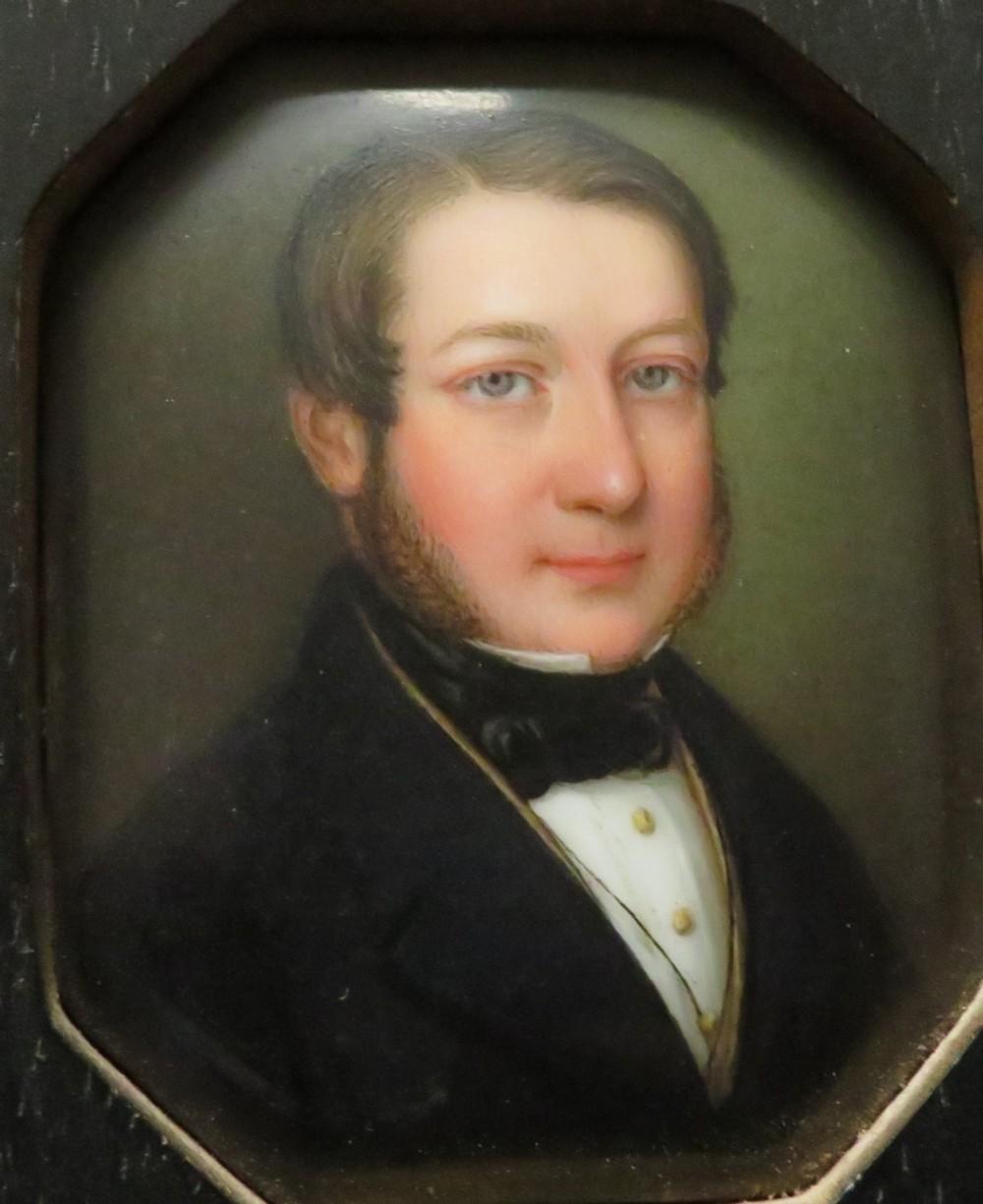 victorian gentleman porcelain plaque finely painted ebonised frame