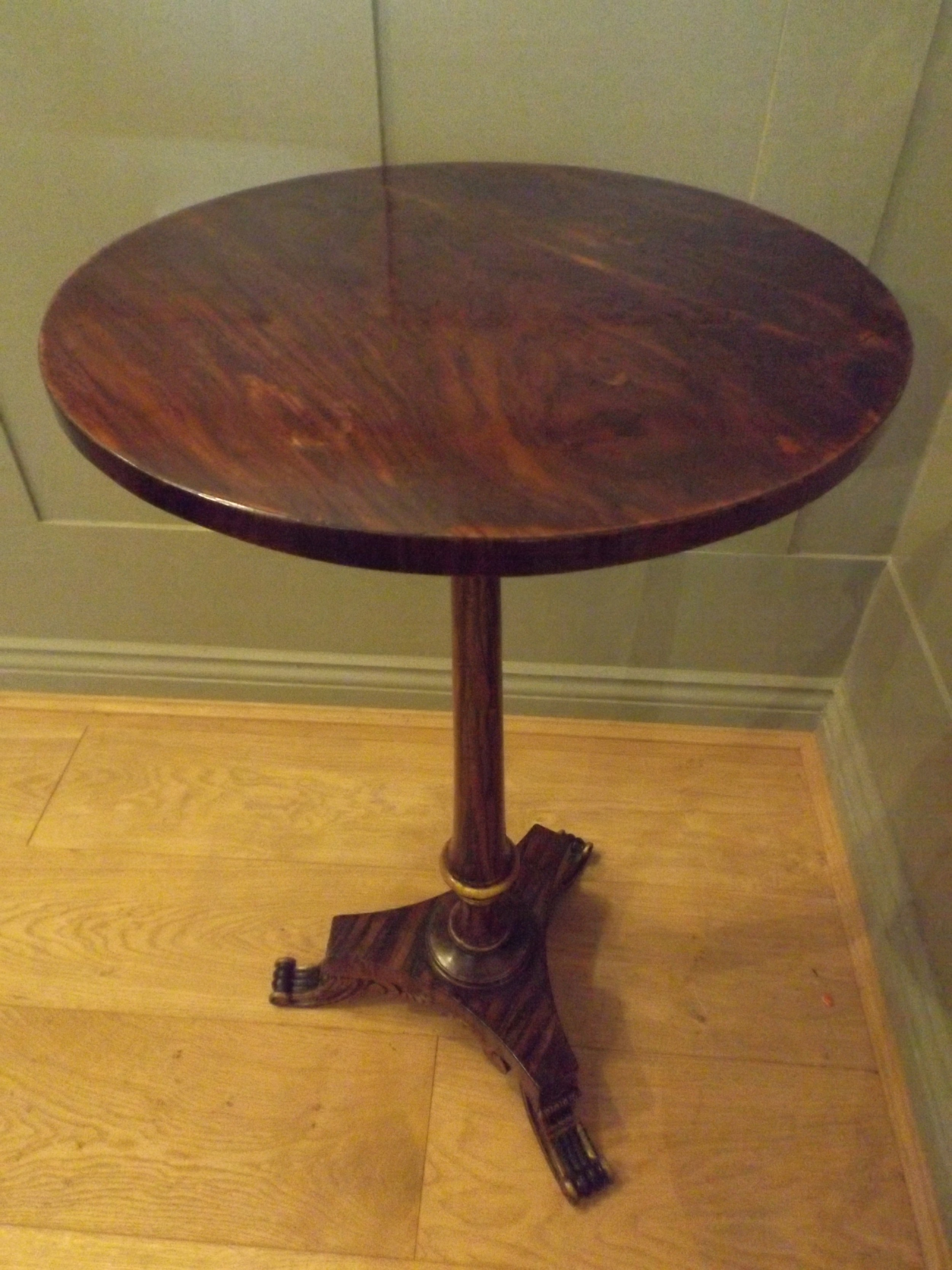 regency simulated rosewood wine table with gilt highlights