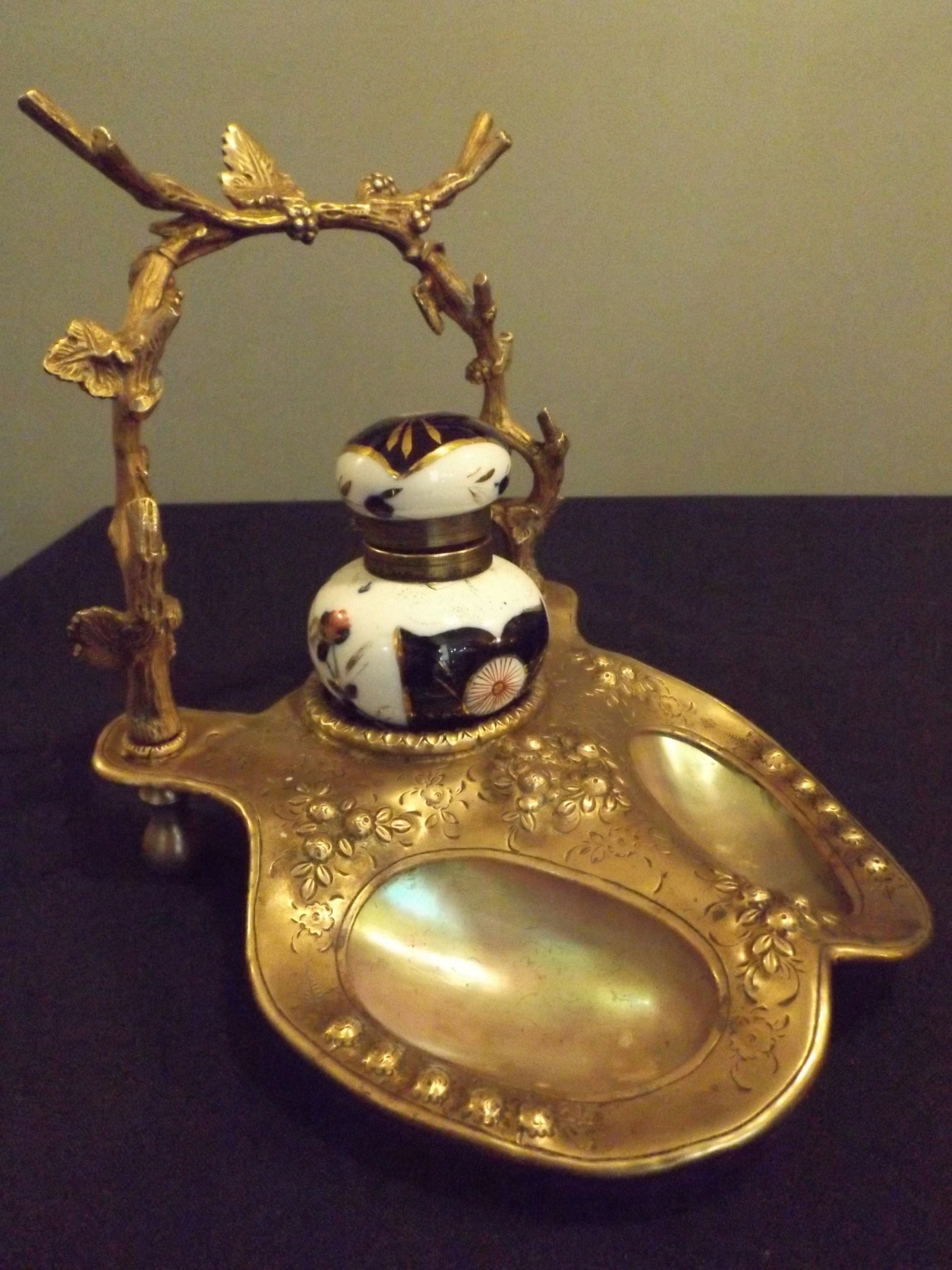 brass mother of pearl inkstand with imari porcelain ink well