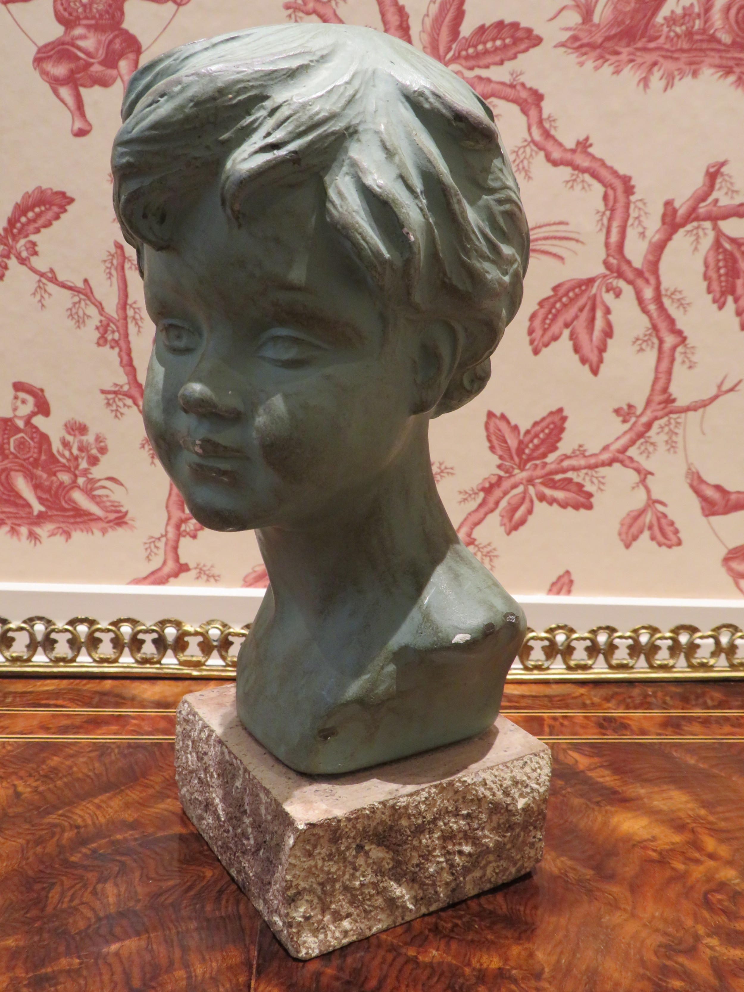 art deco bust young boy bronzed plaster