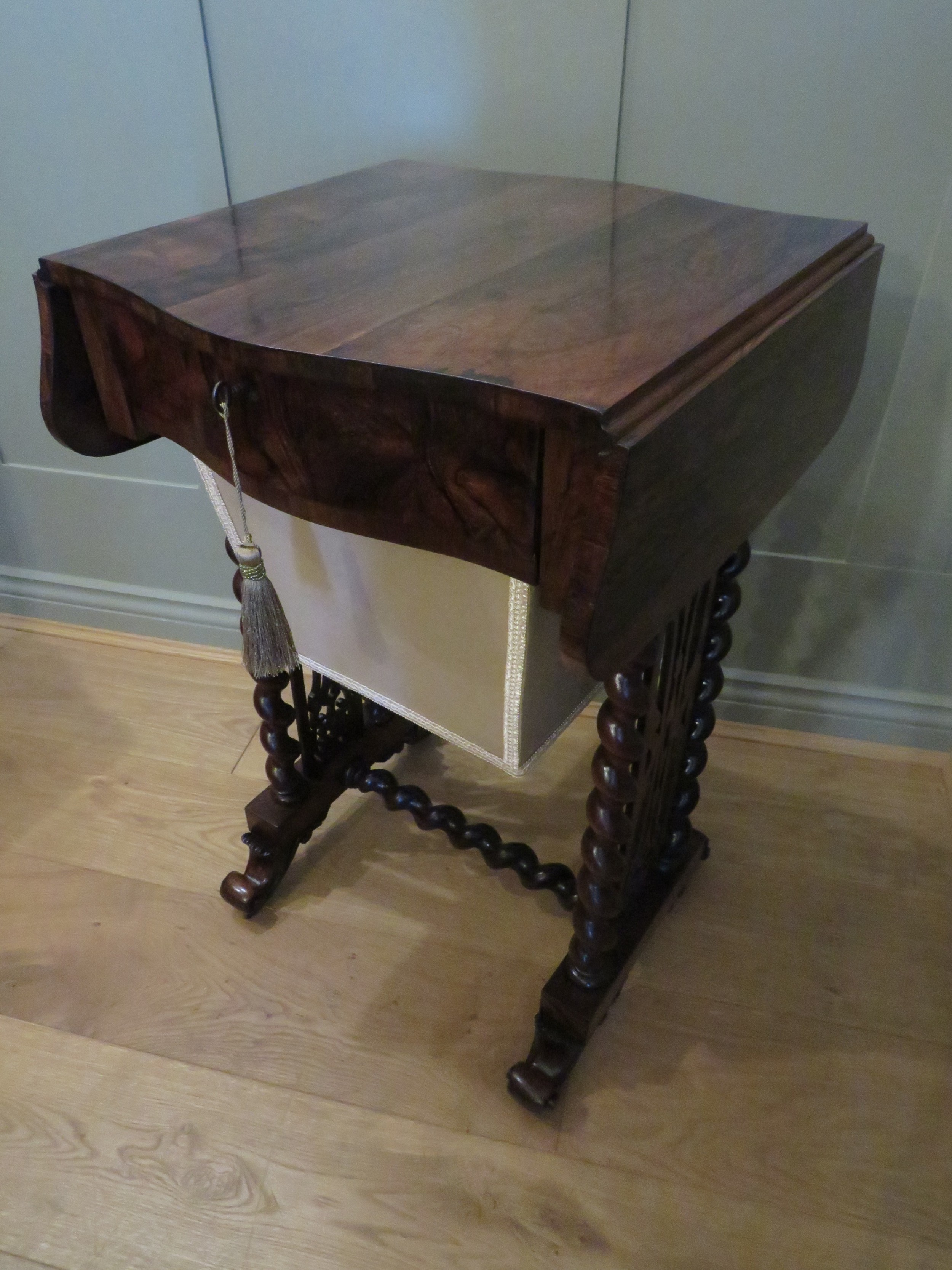 rosewood drop flap work or side table with storage basket