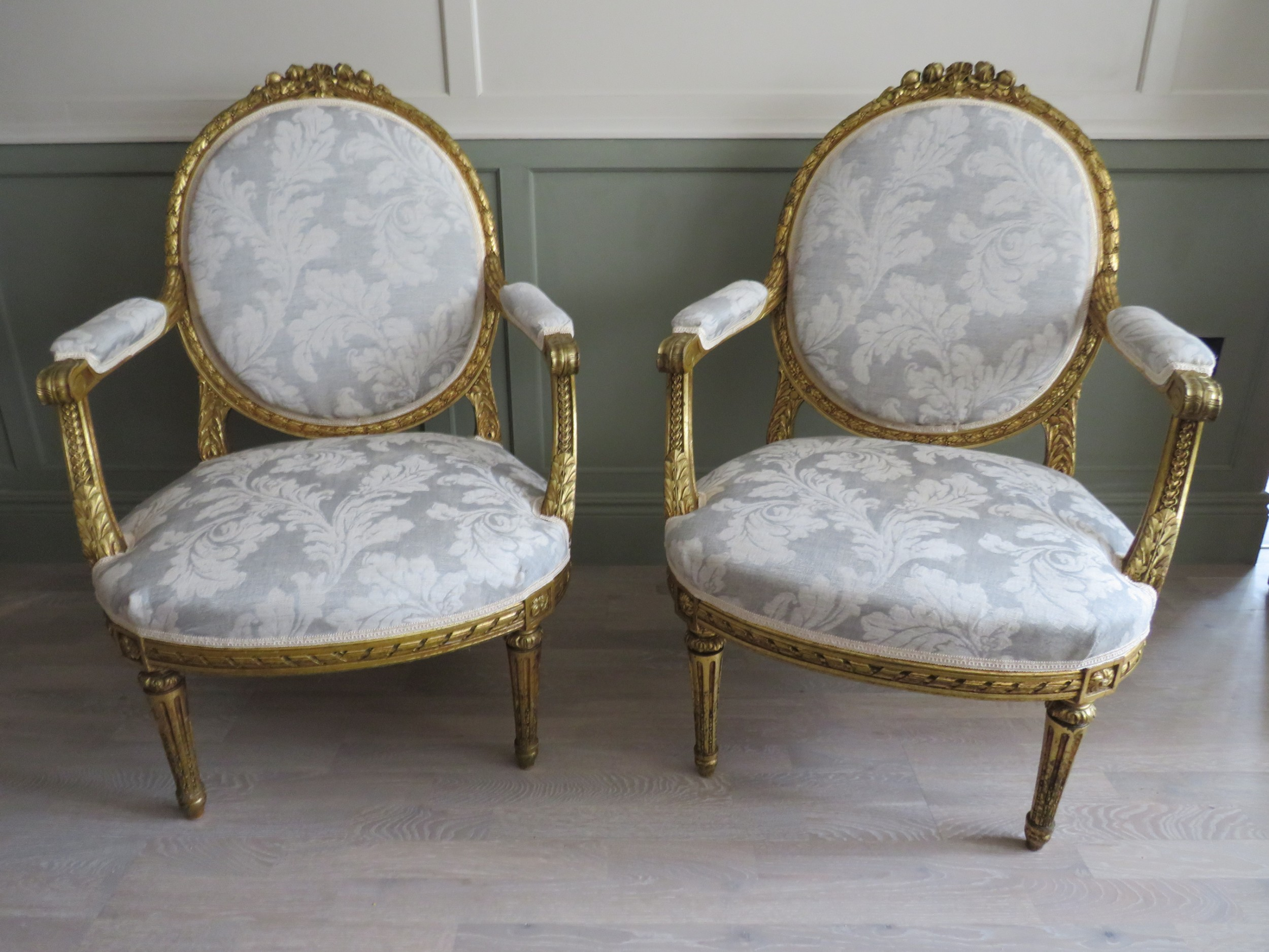 pair of giltwood armchairs manner of louis xvi