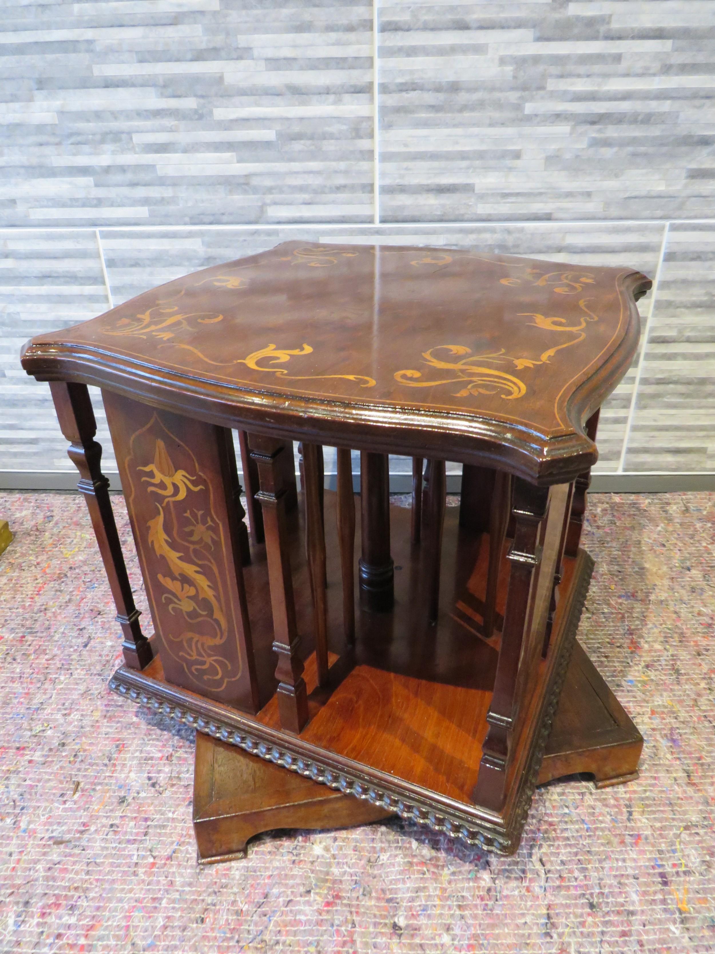 table top revolving bookcase art nouveau influence c1910
