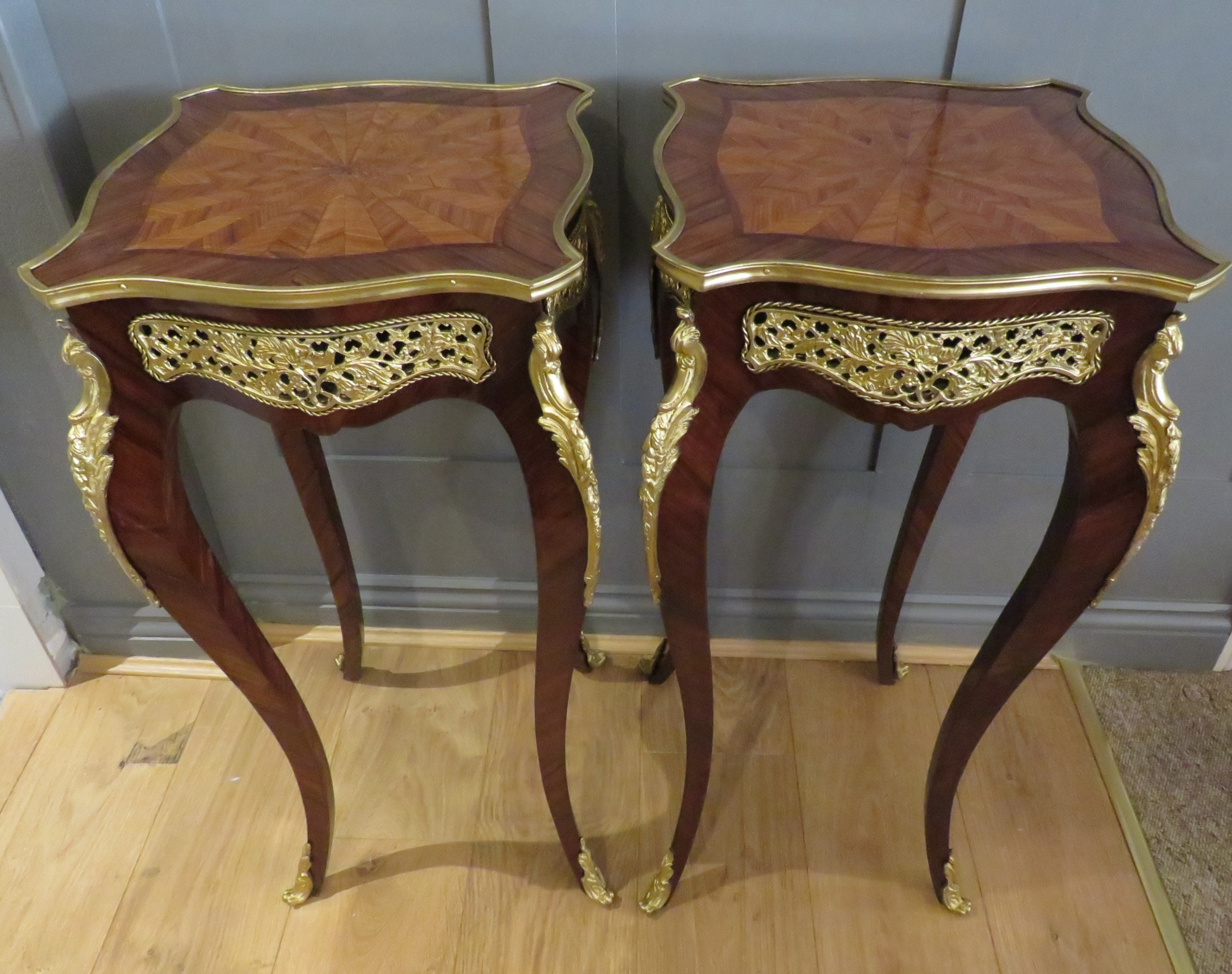 pair of french side tables gueridons gilt mounts