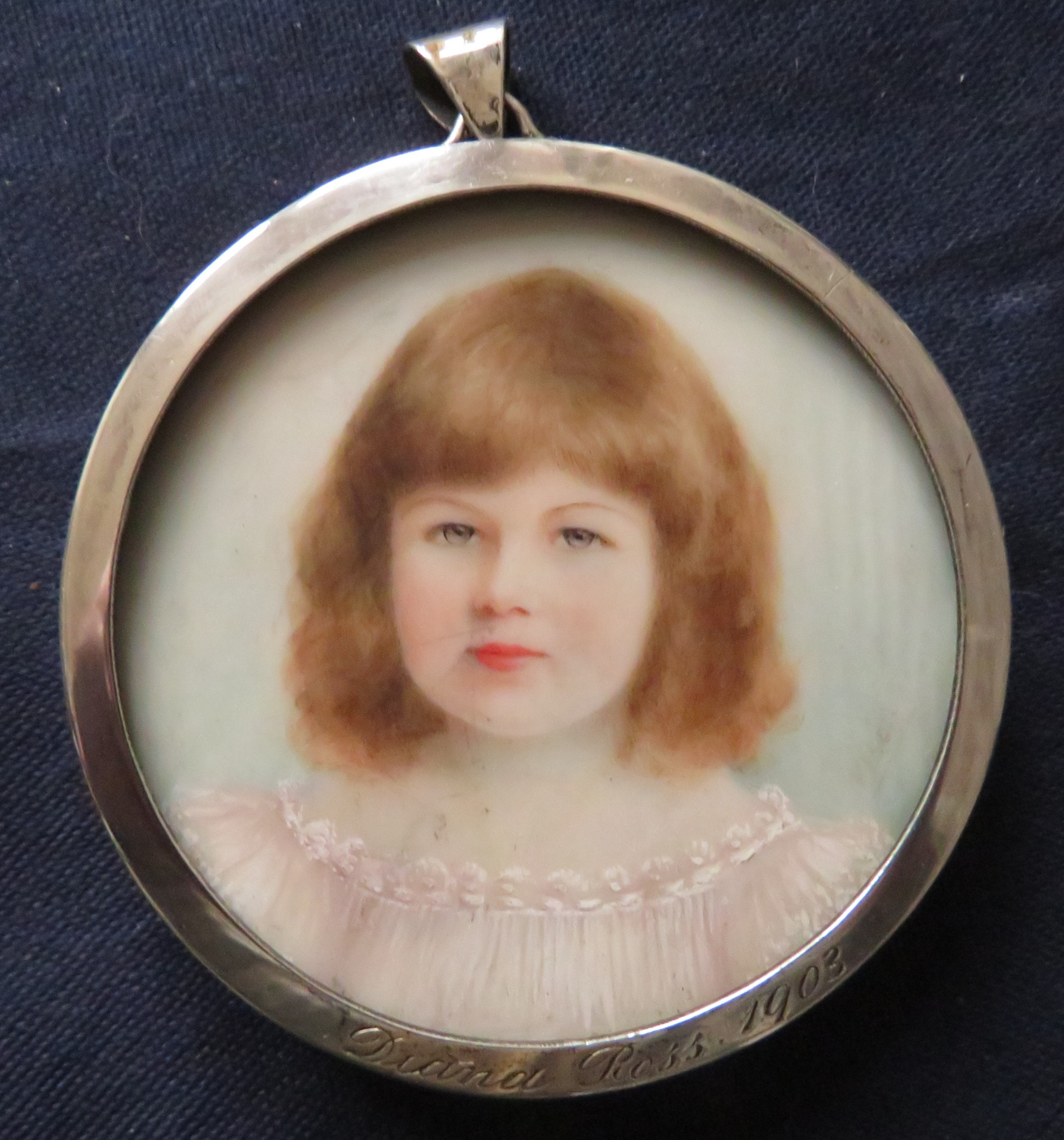 miniature portrait hallmarked silver frame 1 off 2 sisters 1903