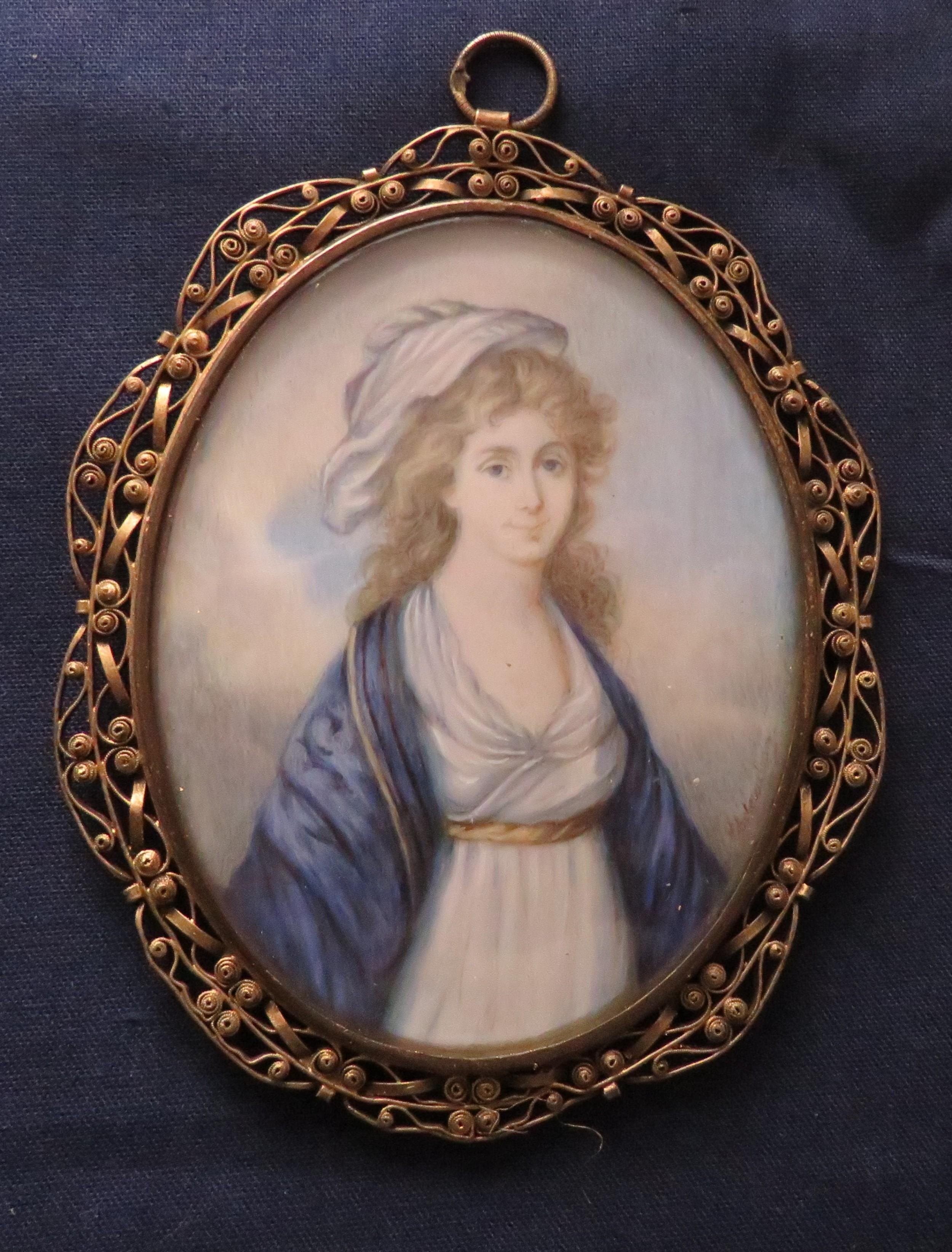 regency miniature portrait in filigree frame gold initials on reverse