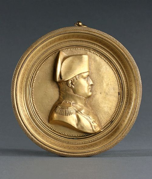 large early 19th century ormolu portrait plaque of napoleon