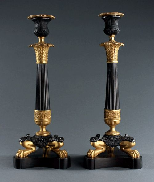 fine pair of early 19th century french empire candlesticks