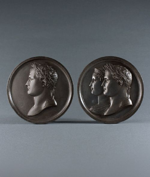 pair 19th century plaques of napoleon and josephine