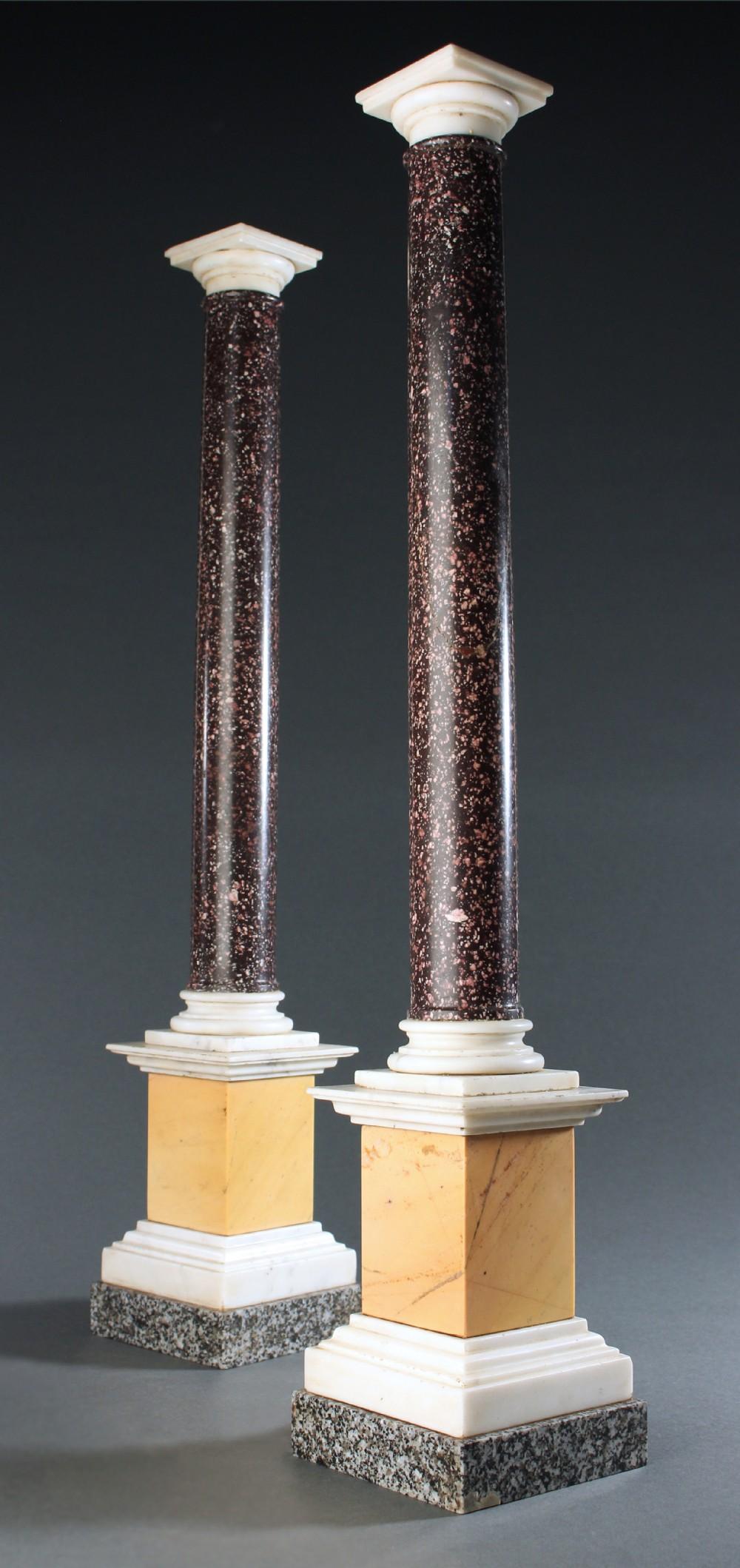 pair of grand tour porphyry specimen marble table columns