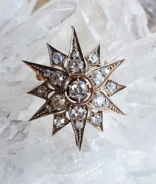 antique late victorian star brooch or pendant with old cut diamonds 25cts 15ct gold