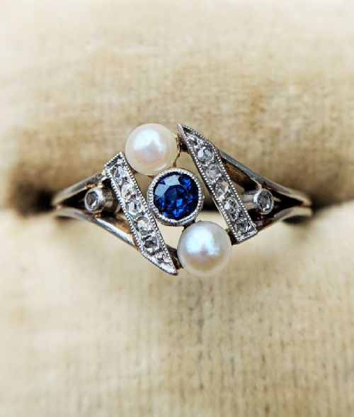 french antique 18ct gold sapphire diamond pearl ring
