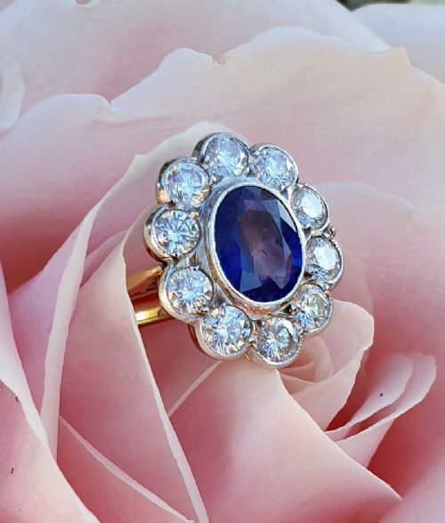Vintage 18ct White Gold Over Sapphire Solitaire Engagement Ring Ladies