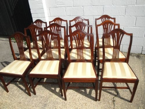 Set 12 Antique Mahogany Hepplewhite Style Dining Chairs