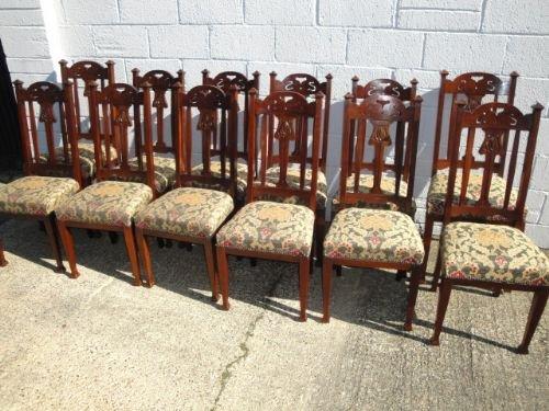 Set Of 12 Antique Art Nouveau Mahogany Dining Chairs 134447
