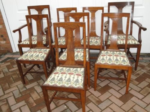 set 8 antique oak arts crafts dining chairs - Set 8 Antique Oak Arts & Crafts Dining Chairs 152562