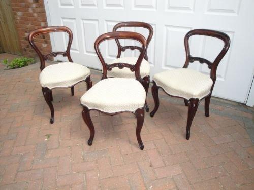 4 antique victorian mahogany balloon back chairs - 4 Antique Victorian Mahogany Balloon Back Chairs 171301