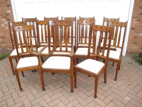Set 12 1 Arts And Crafts Oak Dining Chairs