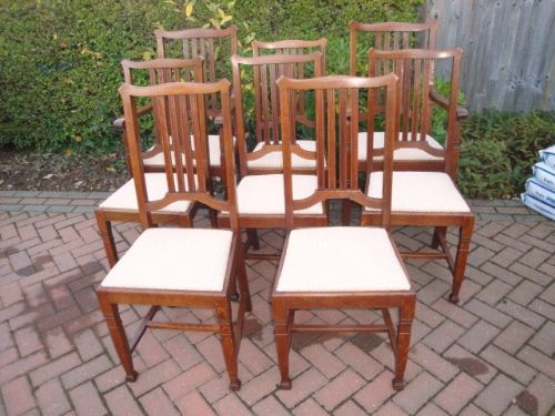 Set Eight Antique Oak Dining Chairs Jas Shoolbred - Oak dining chairs uk